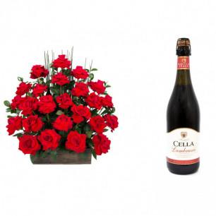 Arranjo de Flores Eu te amo + Vinho Frisante Cella Lambrusco Tinto 750ml