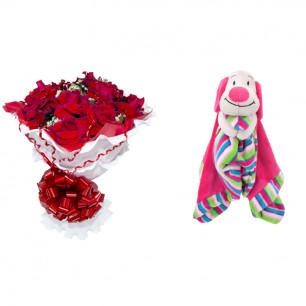 Buquê de Flores Encanto de colombianas vermelhas + Soninho Cachorro 37cm