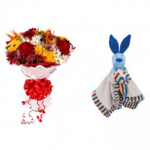 Buquê de Flores Lindo Tropical + Soninho Coelho 37cm