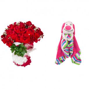 Buquê de Flores Loucura de amor + Soninho Cachorro 37cm