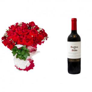 Buquê de Flores Loucura de amor + Vinho Casillero Del Diablo Reserva Cabernet Sauvignon