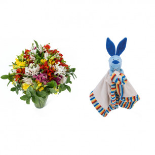 Buquê de Flores Colorido Alegre + Soninho Coelho 37cm