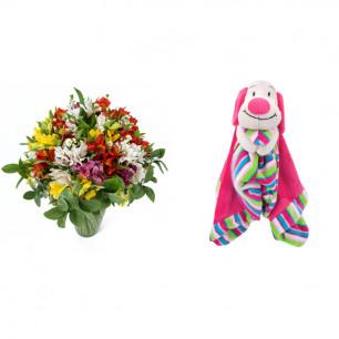 Buquê de Flores Colorido Alegre + Soninho Cachorro 37cm