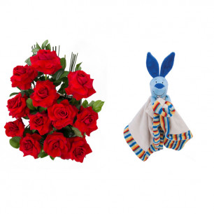 Arranjo de Flores Amor em rosas + Soninho Coelho 37cm