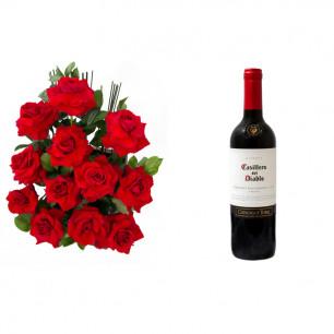Arranjo de Flores Amor em rosas + Vinho Casillero Del Diablo Reserva Cabernet Sauvignon